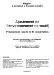 Rapport au Premier Ministre. Ajustement de l'environnement normatif